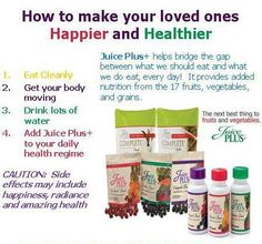 www.jrichardson1.juiceplus.com  Juice Plus+ has been thoroughly studied in pregnancy, children, young adults, athletes, families and the elderly, with results published in major, peer-reviewed scientific journals. Juice Plus+ is proven to powerfully support good health.     Learn how to get Juice Plus+ free for your child aged 4-18 or for your full-time college student by enrolling him or her in the Juice Plus+ Children's Health Study.