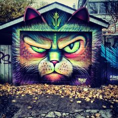 by SHALAK - Magnificant cat face on garage door