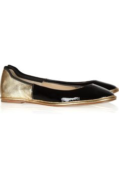 Diane von Furstenberg: Metallic and patent-leather color-block ballet flats $200... I really like these shoes, the fact that it's black patent and gold just speaks luxury, AND comfort which I love!