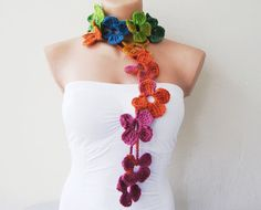 Rainbow Multicolor Flower Hand Crochet Lariat Scarf - this is so different, but I love it!