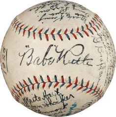 1926 Babe Ruth and NY Yankees team Signed baseball