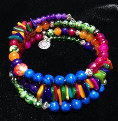 Bright colors! Memory wire bracelet