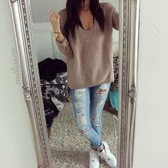 Knitted Heavy Long Sleeve Sweater #cuteteenoutfits #teenageoutfits