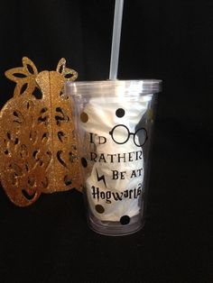 I'd Rather Be At Hogwarts Tumbler Harry by TheLittleSparkleShop