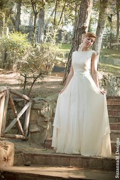 Long Wedding Gown Ivory-Cream Wedding Dress Grecian Lace and Shiffon  Bridal Gown - Handmade by SuzannaM Designs on Etsy, $901.73