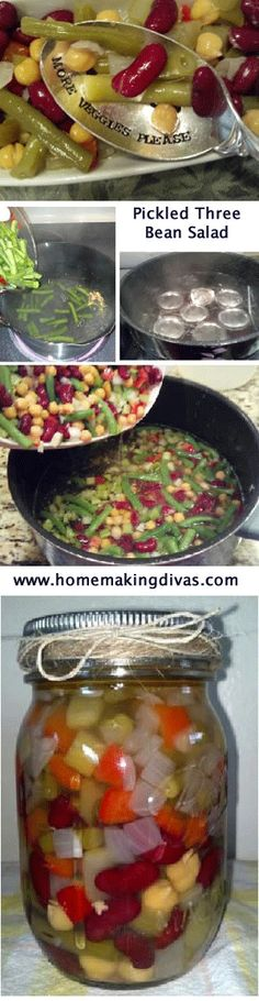 Learn how to bottle Pickled Three Bean Salad.  If you bottle this recipe in 1/2 pint jars its a perfect meal to take to work