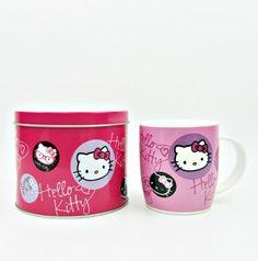 Sanrio Hello Kitty Ceramic Mug in Tin Case Badge Design Cup Glass   eBay