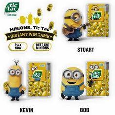 despicable me minion tic tac limited edition stuart bob kevin set