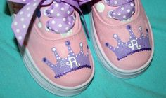 Girl's Custom Painted Tennis Shoes Sneakers SPARKLY by paintmama, $55.00