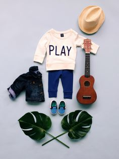 play a different tune this spring! pair statement knits with soft pants and little slip-ons in your favorite shades of blue. finish the little look with a straw fedora from babyGap.