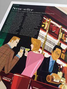 Mandarin Oriental Magazine - Captains Bar Hong Kong - illustrated by Gaku Nakagawa www.dutchuncle.co.uk/gaku-nakagawa