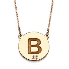 """10k Yellow Gold Diamond Accent Engraved Initial Necklace (Initial """"H""""), Women's, Size: 20 Inch"""