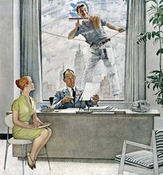 Original Norman Rockwell Paintings | Norman Rockwell's Window Washer