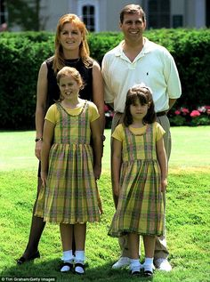 The Duke and Duchess of York with Princesses Beatrice and Eugenie, they were later divorced (Sarah Ferguson and Prince Andrew)