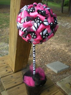 Items similar to Ribbon Topiary in Zebra, Leopard, Hot Pink, Black- Centerpiece/Decoration for Baby Shower/Birthday Party on Etsy Black Centerpieces, Centerpiece Decorations, Party Centerpieces, Bridal Shower Decorations, Wedding Decorations, Wedding Ideas, Zebra Print Party, Pink Zebra Party, Pink Parties