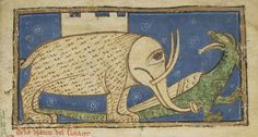 Earless elephant with a castle on his back. By Guillaume le Clerc from the Bestiary of William the Clerk.