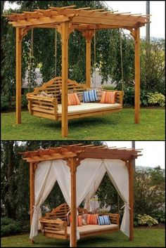 Enhance your outdoor space with this cedar swing bed and pergola! , Enhance your outdoor space with this cedar swing bed and pergola! Imagine swinging away in a comfortable breeze or reading in a s. Backyard Projects, Outdoor Projects, Backyard Patio, Backyard Landscaping, Wooden Pallet Projects, Outdoor Porch Bed, Outdoor Spaces, Outdoor Living, Outdoor Pergola