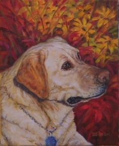 Molly Oil Painting Dog Pet Portrait Art Yellow Labrador, painting by artist Debra Sisson
