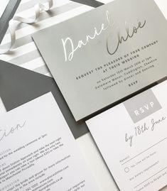 Rachel grey and silver foil wedding invitations Silver Wedding Invitations, Wedding Invitation Cards, Wedding Stationery, Wedding Cards, Diy Wedding Decorations, Wedding Centerpieces, Baby Shower Invitaciones, Wedding Paper, Grey Style