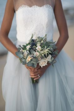 small bridal bouquet with eucalyptus and thistles #bride #bouquet #eucalyptus #thistles
