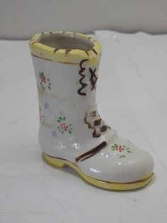 Vintage Made in Occupied Japan Ceramic Boot Shoe Figurine Toothpick Holder
