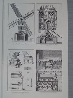 """2 Vintage Diderot Prints Windmill Agriculture 15""""x9"""" 
