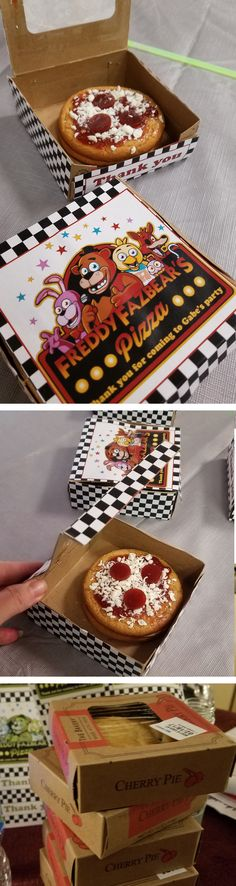 Five nights at Freddy's mini pizza box's. Mini Pizzas made with peanut butter cookies jelly shredded white chocolate and fruit role ups cut into circles. In a walmart mini pie box wrapped in Freddy Fasbear's pizza box print outs.