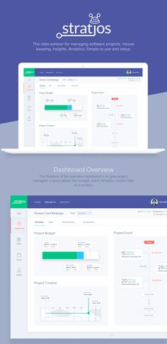 Dashboard design concept for Stratjos for managing software projects. House keeping. Insights. Analytics. Simple to use and setup.