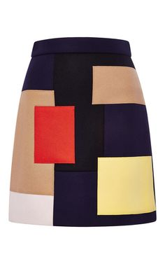 Mulitcolored patchwork wool skirt by MSGM Now Available on Moda Operandi