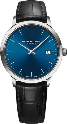 See the Women's Raymond Weil Toccata Leather Strap Watch, Simple Watches, Modern Watches, Watches For Men, Latest Watches, Luxury Watches, Raymond Weil, Black Leather, Quartz, Breitling