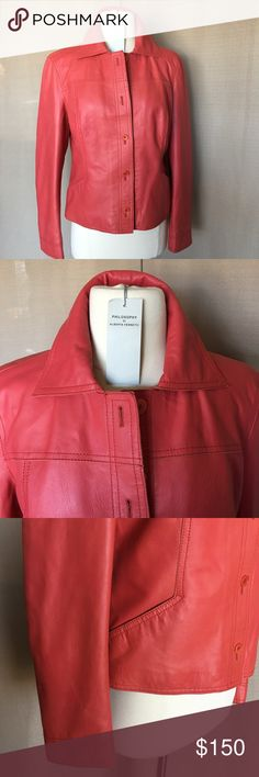 """ALBERTA FERRETTI  FAB Genuine Leath. Made in Italy  New, with tags on. Italian size 46 , to convert to USA  sizing it would be size 10 .!!! It is smaller !!! Fits to size 8 . But check measurements below . Beautiful deep coral color  .  Genuine Leather , lining is  Cotton . Measurements: Bust 40"""". Shoulder 16,5.""""  Length 22"""".  Sleeve length 24"""". Philosophy di Alberta Ferretti Jackets & Coats"""