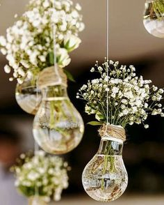 budget rustic wedding decorations flowers gypsophila in vases similar to light b. budget rustic wedding decorations flowers gypsophila in vases similar to light bulbs suspended on a rope colin cowie Perfect Wedding, Dream Wedding, Wedding Day, Trendy Wedding, Wedding Rustic, Wedding Ceremony, Light Wedding, Spring Wedding, Vintage Wedding Flowers