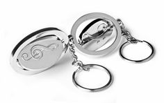 Treble & Bass Clef Swivel Keyring - unique gift idea for music teachers pianists