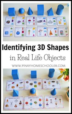 Identifying shapes in real life objects kindergarten Real Life Activity Cards Kindergarten Montessori, Shape Activities Kindergarten, 3d Shapes Activities, Montessori Homeschool, Montessori Classroom, Montessori Activities, Preschool Activities, Learning Shapes, Montessori Elementary