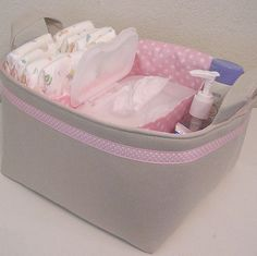 Natural Linen Pink Polka Dot Accent  Fabric Organizer Bin Basket Diaper Caddy ..