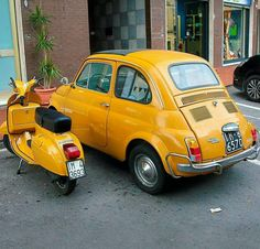 The Great Charm of Vintage Cars - Popular Vintage Fiat Cinquecento, Fiat Abarth, Piaggio Vespa, Vespa Scooters, Bici Retro, Fiat Cars, Sweet Cars, Cute Cars, Cool Bicycles