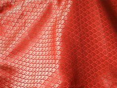 Brocade Fabric sold by yard Red brocade with gold leafs motifs pattern