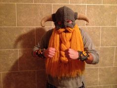 Skyrim inspired helm with beard and bracers by LegendaryCrafts, $125.00- repinned only to share with my knitting friends!