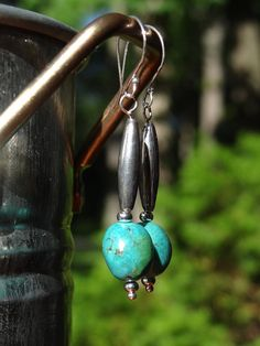 Sterling Silver and Large Turquoise Bead Earrings by Dajamana, $48.00