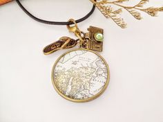 vintage Map Midori Traveler's Notebook Charm by PrettySang on Etsy