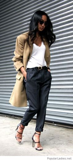 Black pants, white tank and a nude coat