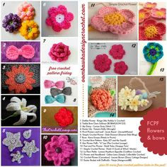 50 FREE crochet FLOWERS & bows pattern links ༺✿ƬⱤღ  https://www.pinterest.com/teretegui/✿༻