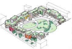 Photo: The Sunward Co-housing community – Ann Arbor, Michigan, Another intentional community option in alternative living is co-housing. This consists of private homes supplemented by s… Co Housing Community, Tiny House Community, Block Plan, Eco City, Concept Diagram, Sketch Design, Urban Planning, Urban Design, Bristol