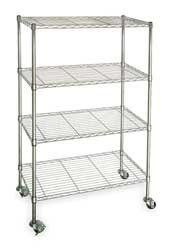 STORE LOGIC 3TPA6 Wire Cart, 4 Shelf, Chrome, 60x24x67 In. by Storelogic. $260.30. Wire Cart, 4 Shelf, Load Capacity (Lb.) 350, Finish Chrome, Overall Length (In.) 60, Overall Width (In.) 24, Overall Height (In.) 67, Shelf Length (In.) 60, Shelf Width (In.) 24, Adjustable Increments (In.) 1, Caster Type Swivel, Two With Brake, Caster Material Polymer, Caster Dia. (In.) 3, Finish Chrome, Caster Width (In.) 1