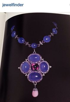 JAR~ Joel Arthur Rosenthal~ blue chalcedony amethyst diamond pink pearl necklace with pendant. 1991 Jewels by JAR