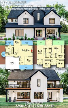 House Plan gives you square feet of living space with bedrooms and baths. AD House Plan House Plan gives you square feet of living space with bedrooms and baths. Sims House Plans, New House Plans, Dream House Plans, Dream Houses, 5 Bedroom House Plans, 4000 Sq Ft House Plans, House Design Plans, House Plans 2 Story, Square House Plans