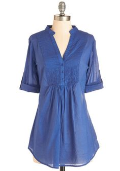 Back Road Ramble Tunic in Blue - Blue, Solid, Buttons, Casual, Long Sleeve, Cotton, Variation, Tab Sleeve, Blue, Spring, Best Seller, Maternity, Long, Good, Top Rated, 4th of July Sale