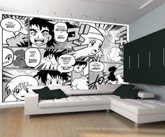 anime japanese mural manga murals japansk bedroom peint papier cartoon walls fotomurales coola quirky theme chambre japonais enfants europosters blanc