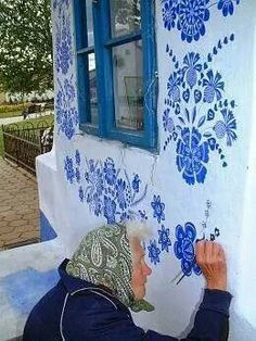 Grandmother Agnes Kašpárková delicately paints traditional Moravian ornament on an early century belltower Graffiti, Street Art, Art Populaire, Arte Floral, Urban Art, Belle Photo, Fresco, Blue And White, Blue Lace