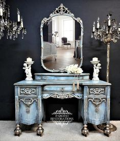 This Stunning Vanity Set was Hand Painted in Various Faded Shades of Blues, Champagne, Soft White, Antiqued and Sealed. 6 Smooth Gliding Dove Tailed Drawers w Asian Furniture, Funky Furniture, Refurbished Furniture, Upcycled Furniture, Shabby Chic Furniture, Furniture Projects, Furniture Makeover, Antique Furniture, Furniture Decor